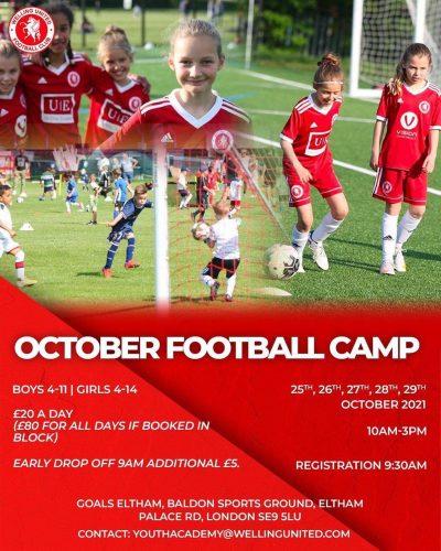 Welling United Girls October football camp 25 - 29 October