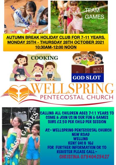 Wellspring Autumn holiday club 25 - 28 October